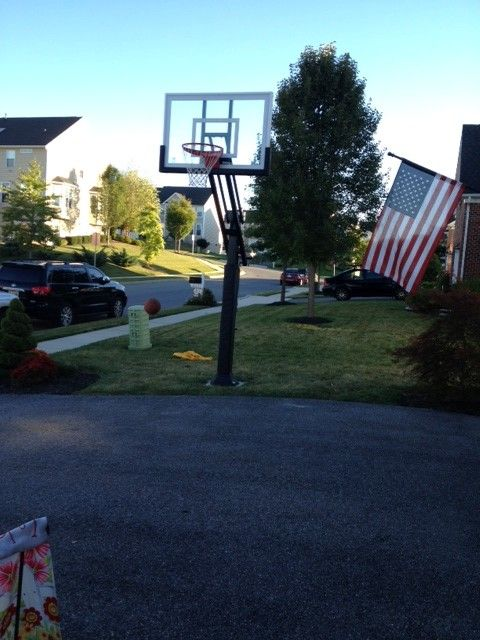 College Basketball Court Dimensions for a Traditional Landscape with a Basketball Goal and Gina B's Pro Dunk Silver Basketball System on a 35x19 in Westminster, Md by Pro Dunk Hoops