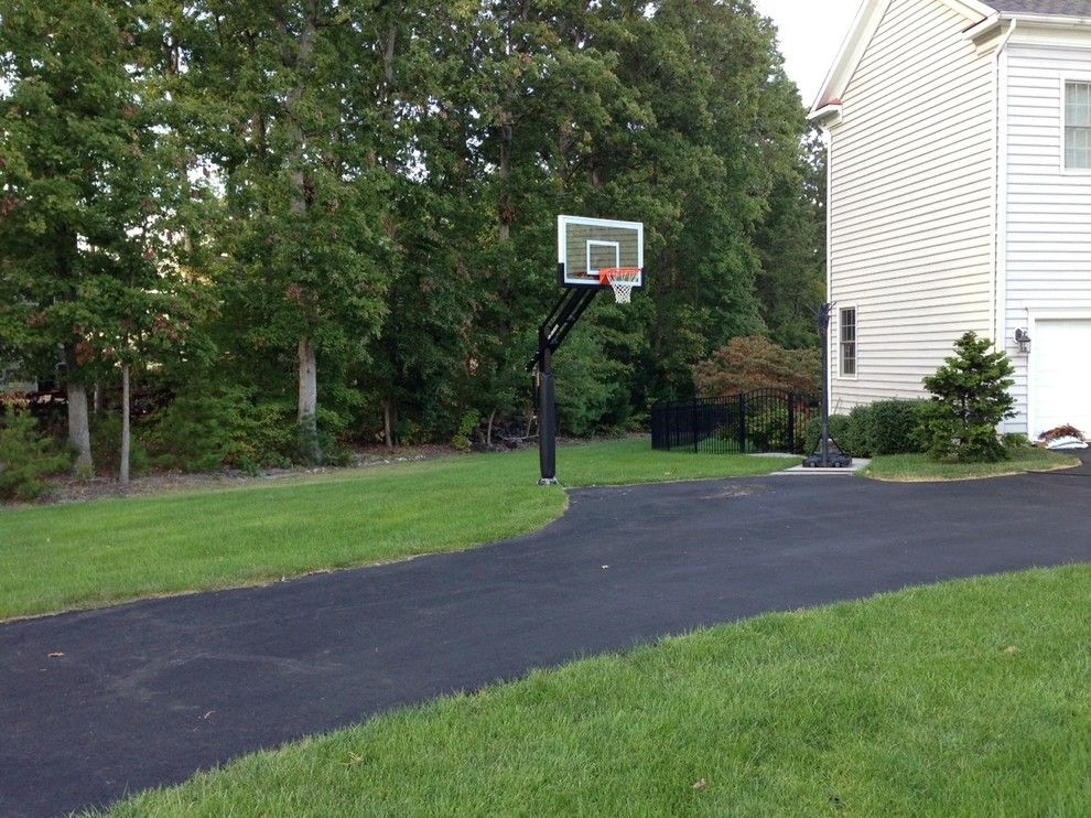 College Basketball Court Dimensions for a Traditional Landscape with a Basketball Nets and Paul G's Pro Dunk Gold Basketball System on a 20x30 in Lorton, Va by Pro Dunk Hoops