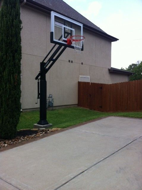 College Basketball Court Dimensions for a Traditional Landscape with a Best and Dean T's Pro Dunk Gold Basketball System on a 35x30 in Cypress, Tx by Pro Dunk Hoops