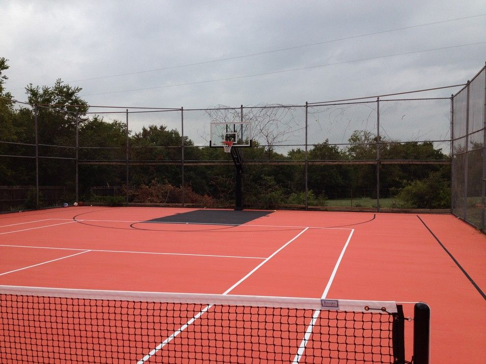 College Basketball Court Dimensions for a Traditional Landscape with a Featured and Steve S's Pro Dunk Platinum Basketball System on a 50x110 in Aledo, Tx by Pro Dunk Hoops