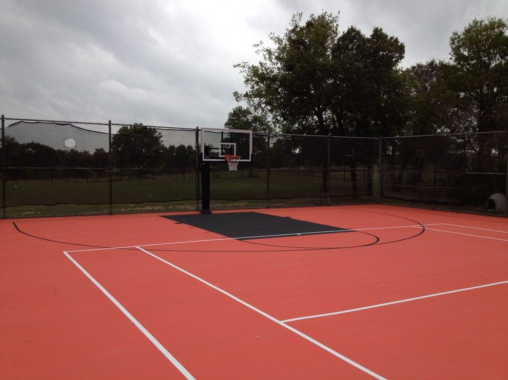 College Basketball Court Dimensions for a Traditional Landscape with a Outdoor Basketball System and Steve S's Pro Dunk Platinum Basketball System on a 50x110 in Aledo, Tx by Pro Dunk Hoops