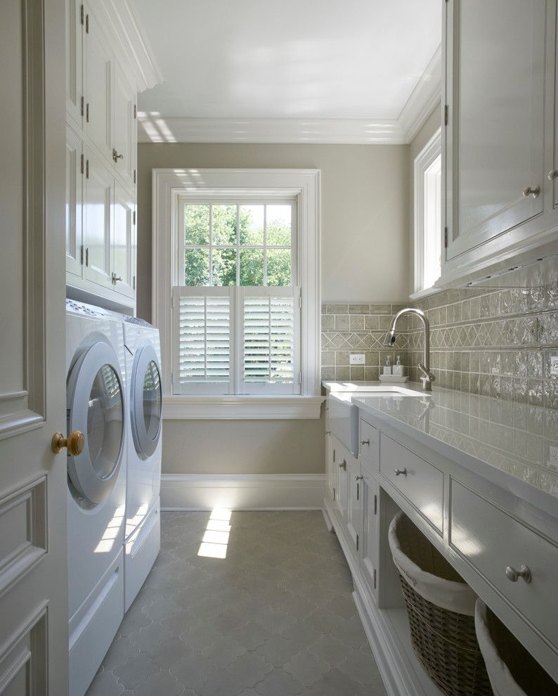 Colleton River Plantation for a Traditional Laundry Room with a Tiled Backsplash and Georgian Residence New Canaan by Brooks and Falotico Associates, Inc.