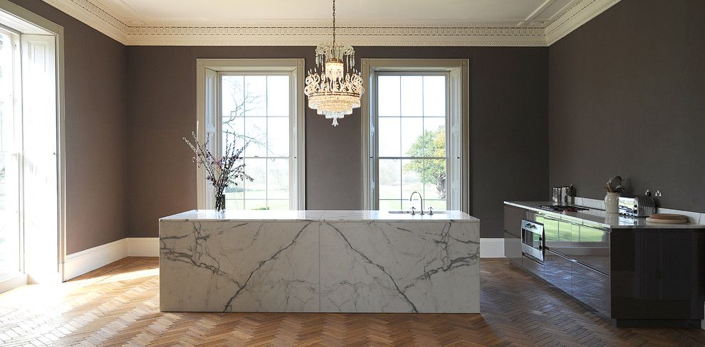 Colonial Marble and Granite for a Contemporary Kitchen with a Dualit and Large Marble Island in Statuary Marble by Artichoke