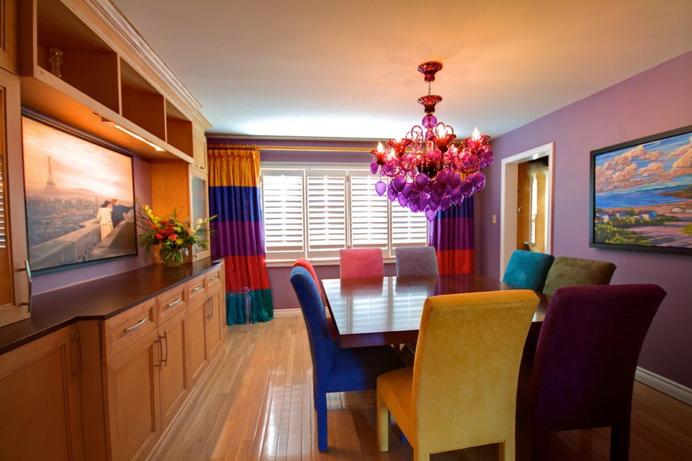 Coloredge for a Eclectic Dining Room with a Bright Colors and Dining Rooms by Avalon Interiors