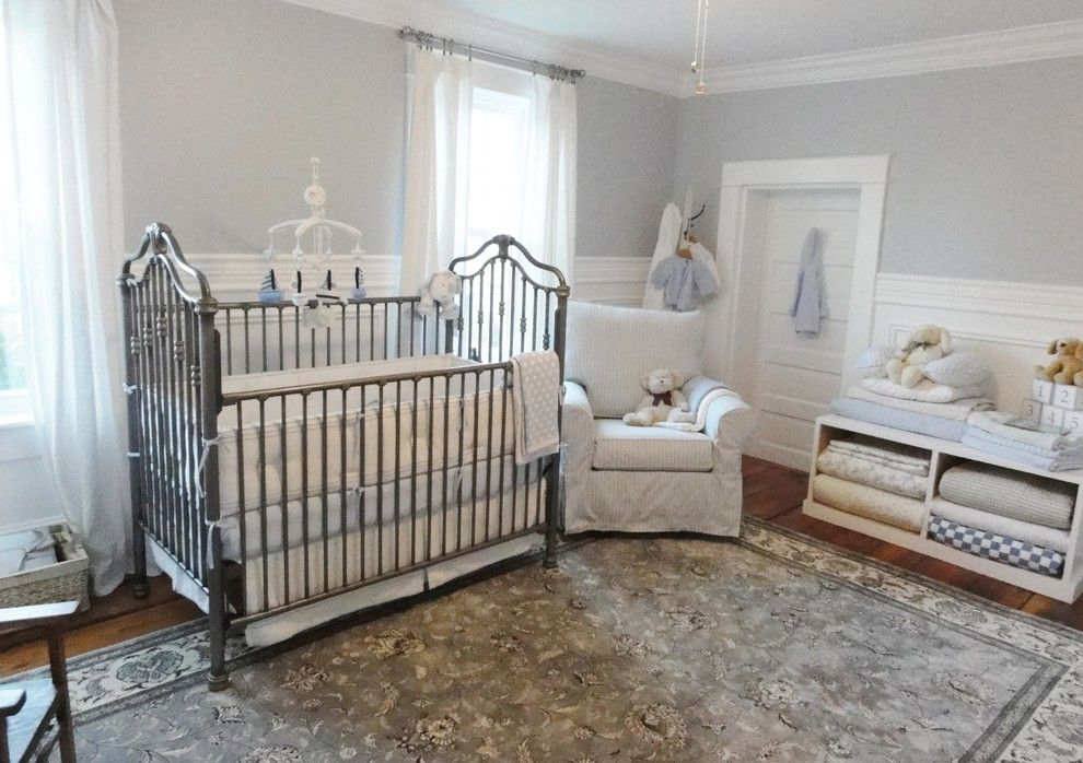 Coloredge for a Traditional Nursery with a Decorative Crib Mobile and Boy's Nursery by Sharpsfarm