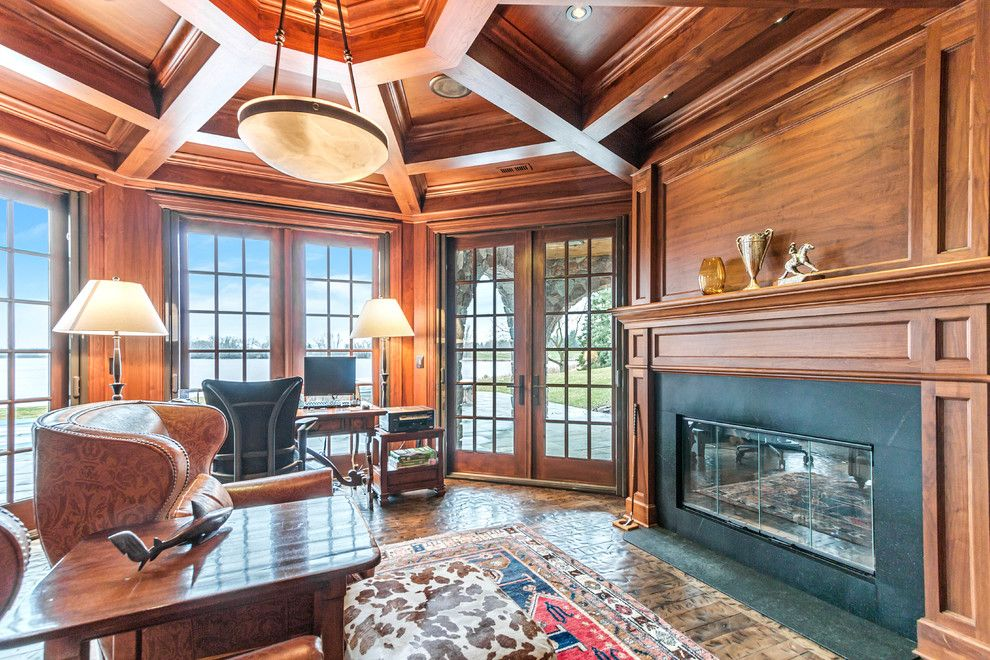 Comfort Suites Lake Geneva Wi for a Rustic Home Office with a Wood Paneled Walls and Lakewood Estates Private Retreat, Lake Geneva Wi by Lowell Custom Homes