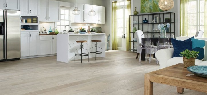"""Commodore Homes for a Contemporary Kitchen with a Glass Pendant and Virginia Mill Works Co.- 1/2"""" X 7-1/2"""" Delaware Driftwood Oak Prefinished Handsc by Lumber Liquidators"""