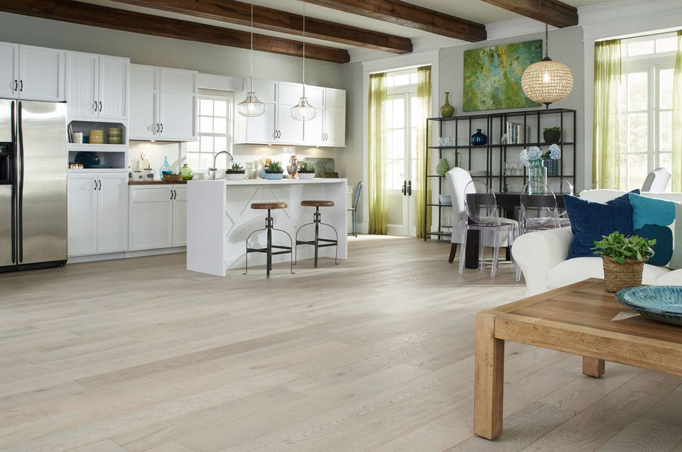 "Commodore Homes for a Contemporary Kitchen with a Glass Pendant and Virginia Mill Works Co.- 1/2"" X 7-1/2"" Delaware Driftwood Oak Prefinished Handsc by Lumber Liquidators"