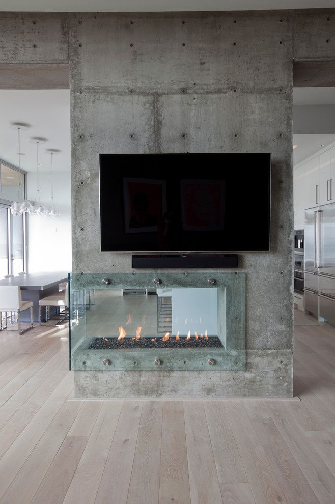 Concrete Masonry Unit for a Contemporary Living Room with a Oak and Burnaby Capitol Hill Residence by Tanya Schoenroth Design