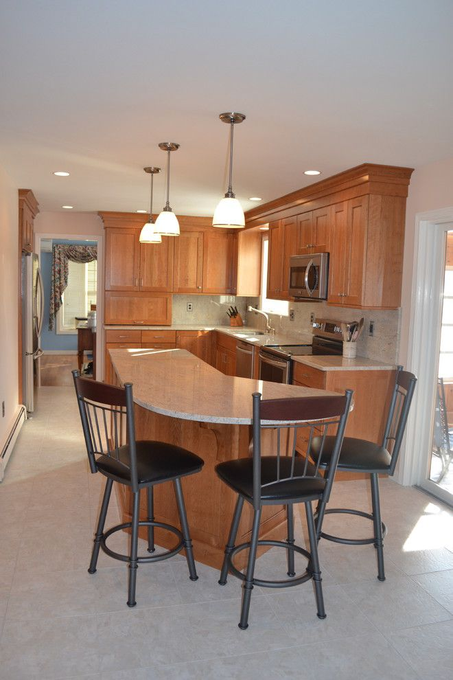 Congoleum for a Traditional Kitchen with a Granite Countertop and Farmhouse Road Kitchen, Bedford by Granite State Cabinetry