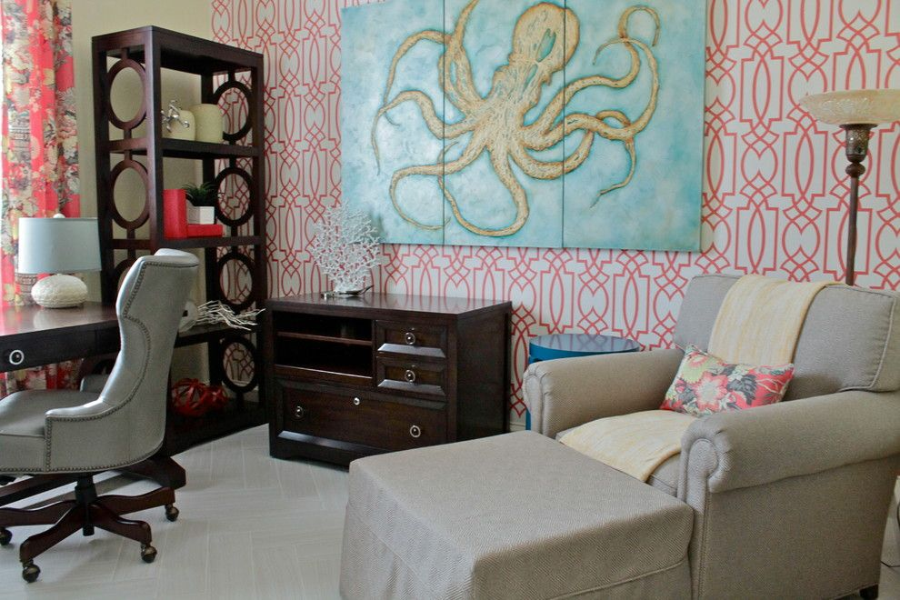 Connells Furniture for a Transitional Home Office with a Teal and Colorful Classic Home Office by Traci Connell Interiors