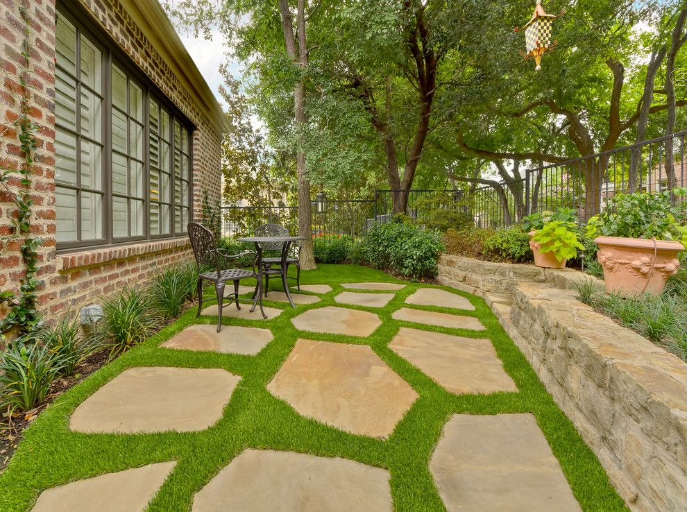 Consignment Furniture Dallas for a Traditional Landscape with a Synthetic Turf and Private Residence - Intimate Backyard Retreat by Harold Leidner Landscape Architects