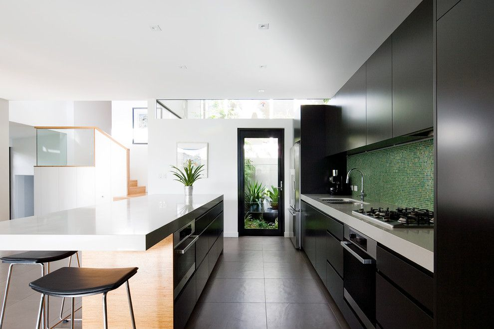 Cookson Doors for a Contemporary Kitchen with a White Countertop and Balgowlah 03 by Watershed Design