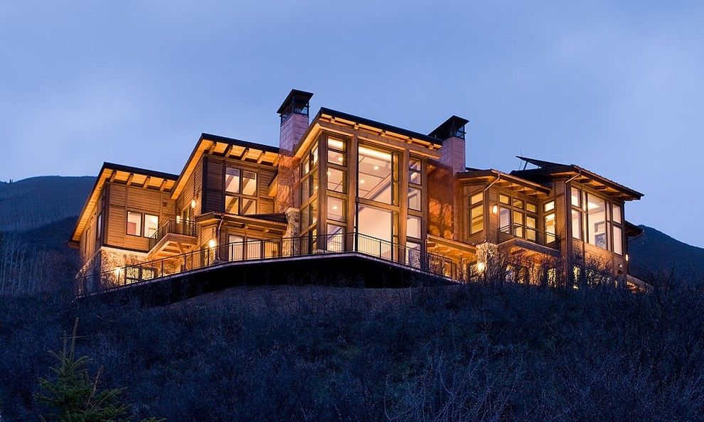 Copper Chimney for a Contemporary Exterior with a Deck and Nighthawk, Aspen, Colorado by Chip Webster Architecture