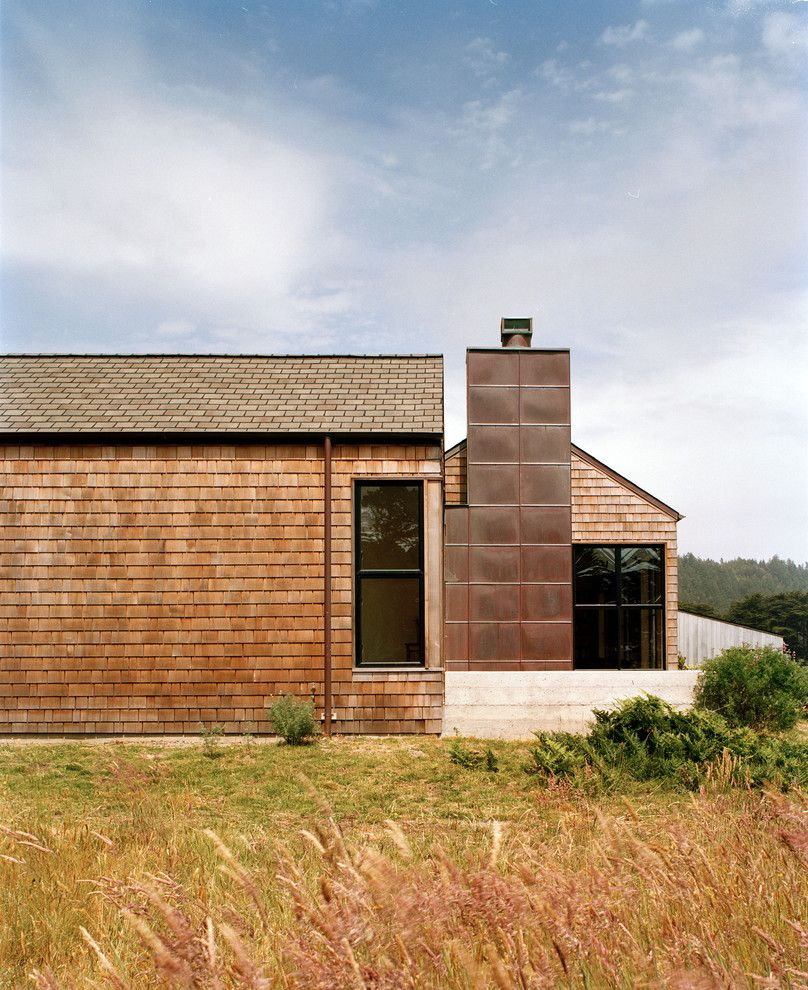 Copper Chimney for a Contemporary Exterior with a Mixed Siding and Sea Ranch Residence by Nick Noyes Architecture