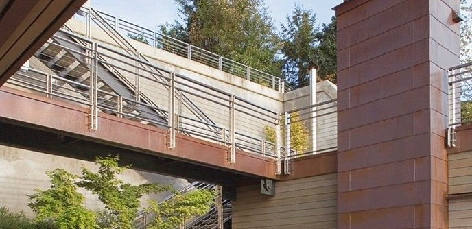Copper Chimney for a Contemporary Patio with a Bridge and Cliff House Outdoor Entertaining Area by Scott Allen Architecture