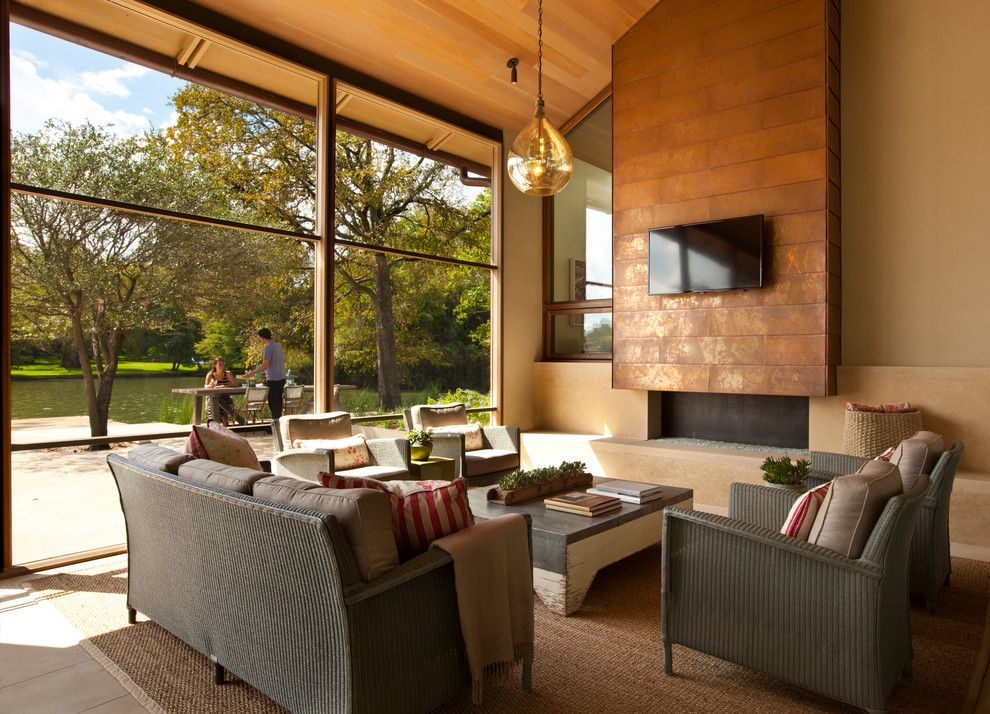 Copper Chimney for a Contemporary Porch with a Glass Walls and Cove House by Furman + Keil Architects