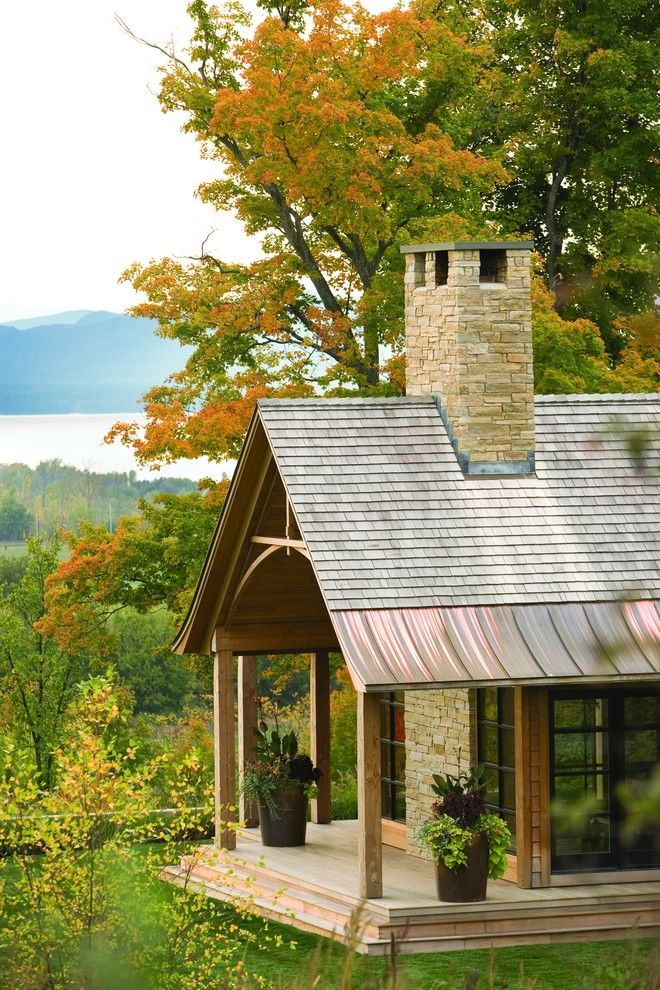 Copper Chimney for a Rustic Exterior with a Metal Roof and East West House by Truexcullins Architecture + Interior Design
