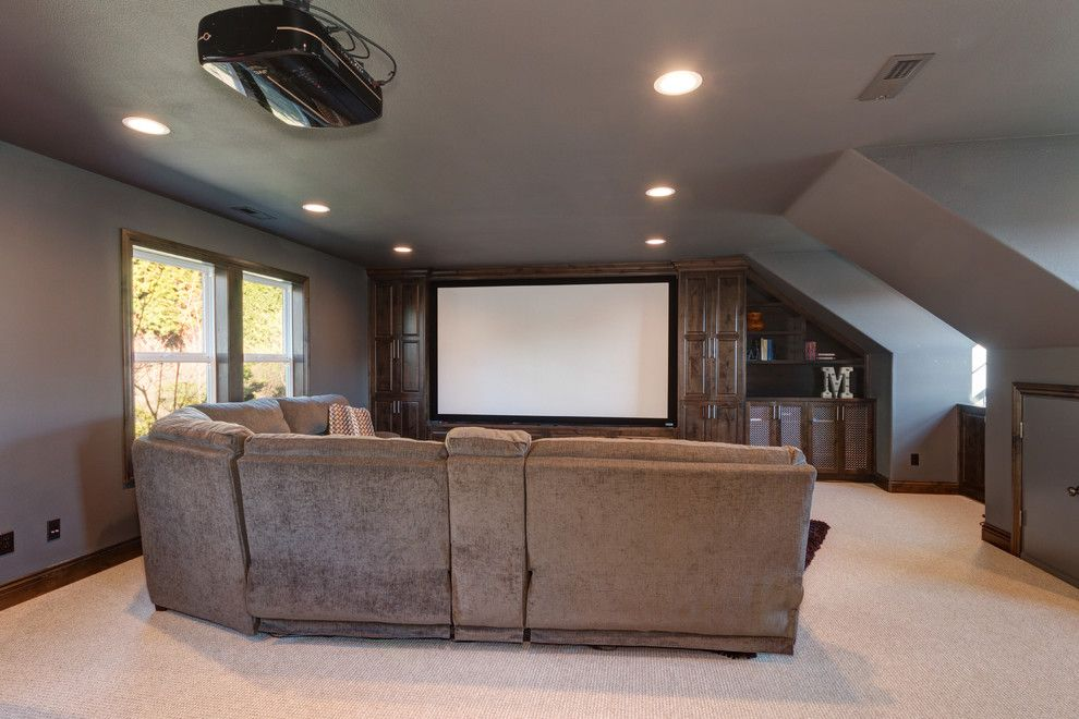 Copper Creek Theater for a Rustic Home Theater with a Home Design and Theater Room by Sitka Projects