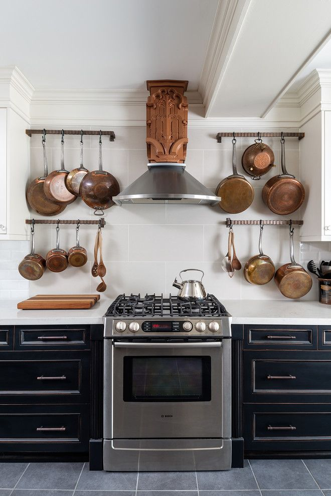 Copper Kettle Nashville for a Transitional Kitchen with a Distressed Cabinets and Vintage Beach Home   Dream Art Deco Kitchen by Gillian Jackson   Jackson Photography & Design