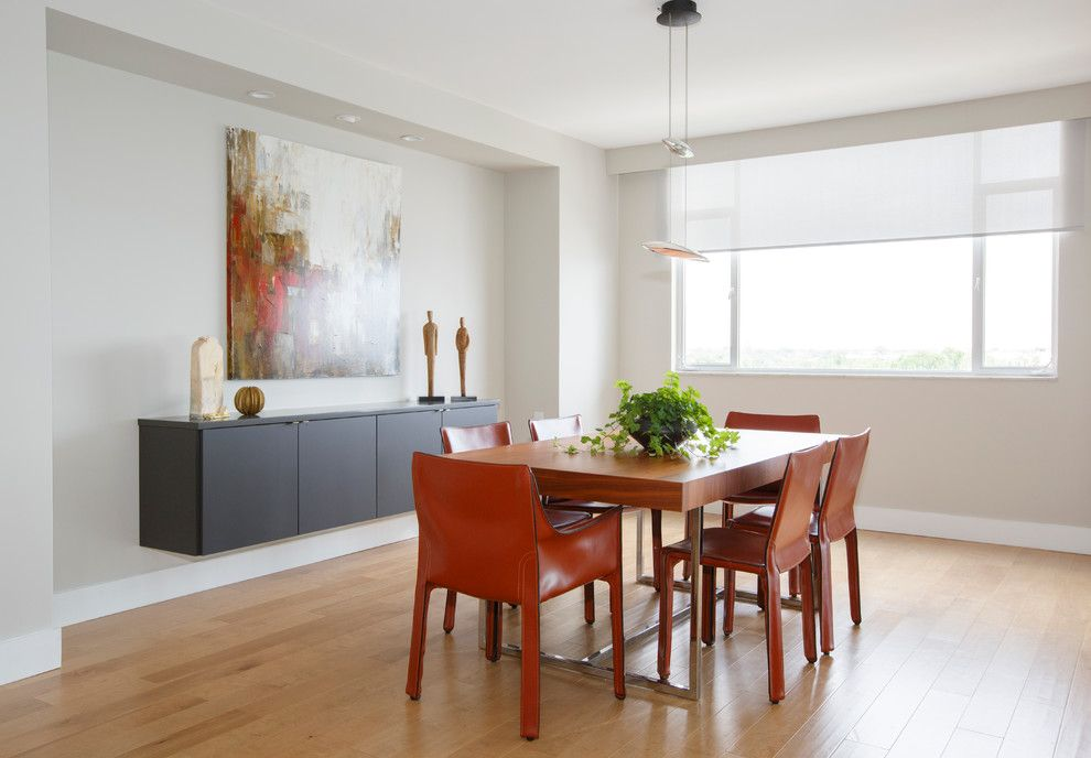 Cordovan Color for a Contemporary Dining Room with a Dining Chairs and Contemporary Condo by Kitchen Envy, Inc.