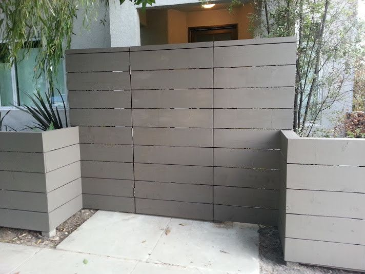 Cordovan Color for a Contemporary Entry with a Gate and Modern Fencing   Contemporary, Horizontal Fences and More by Harwell Fencing and Gates Inc