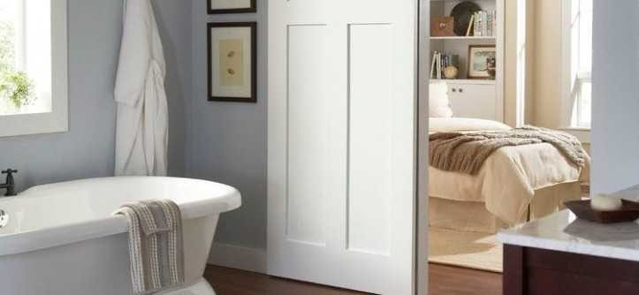Coronado Shores for a Contemporary Bathroom with a Barn Door and Bathroom Wall Mount 2610FB by Johnson Hardware