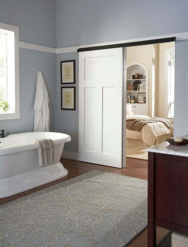 Coronado Shores for a Contemporary Bathroom with a Barn Door and Bathroom Wall Mount 2610FB by Johnson Hardware