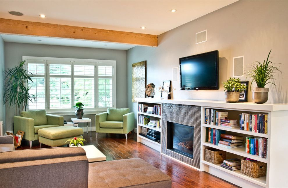 Cort Furniture Rental & Clearance Center for a Contemporary Living Room with a Wall Mounted Tv and East 2nd Avenue by Mango Design Co
