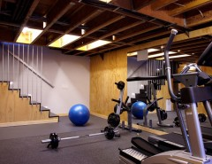 Cost to Remove Popcorn Ceiling for a Modern Home Gym with a Basement and Port Washington Residence by Narofsky Architecture + Ways2design