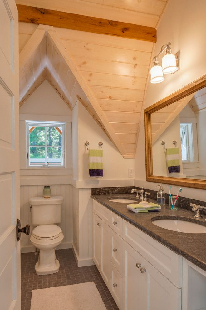 Costco Memory Foam for a Farmhouse Bathroom with a White Bathroom and Hillside Barn by John Cole Architect