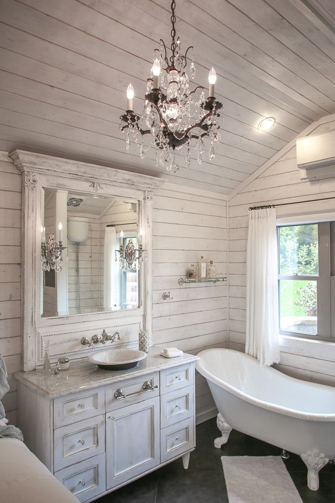 Costco Memory Foam for a Shabby Chic Style Bathroom with a Tiny Home and Mountain Cabin by Durham Designs & Consulting, Llc