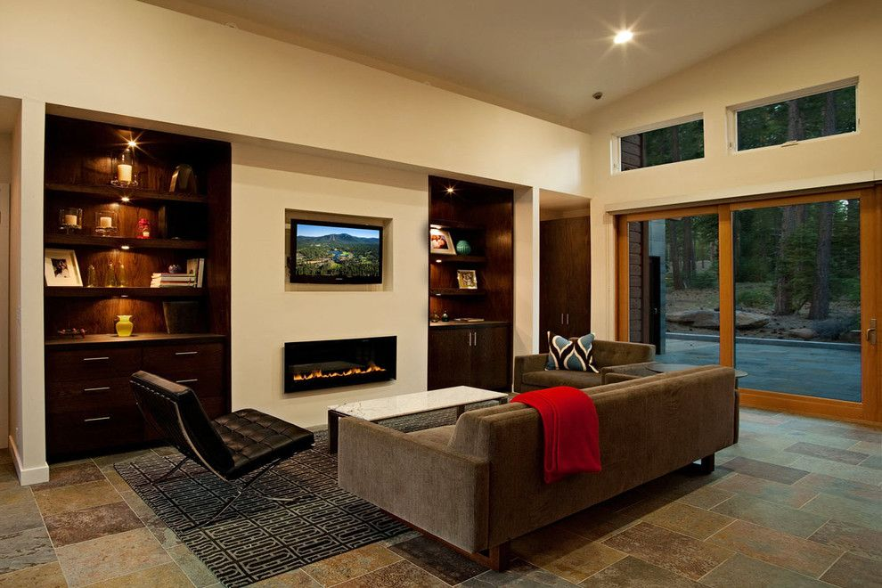 Costco Tv Mount for a Contemporary Family Room with a Bookcase and Martis Camp #219 by Sagemodern