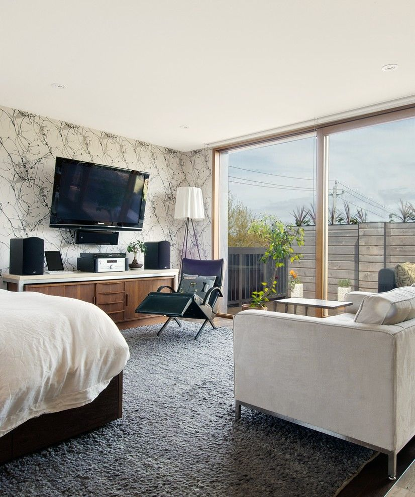 Costco Tv Mount for a Transitional Bedroom with a Bed and My Houzz: Media Area by Andrew Snow Photography