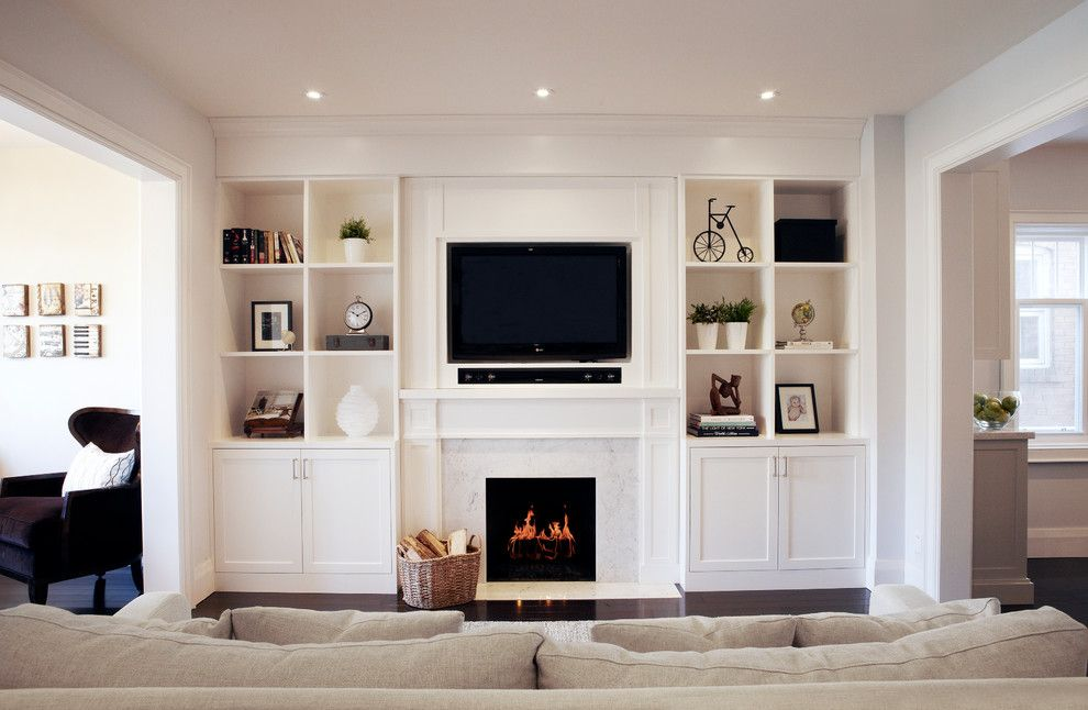 Costco Tv Mount for a Transitional Family Room with a Linen Couch and Melrose by Ali Budd Interiors