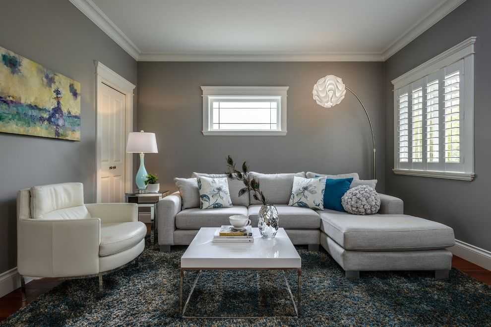 Counch for a Contemporary Family Room with a Shag Rug and Sitting Room by Leanne Mckeachie Design