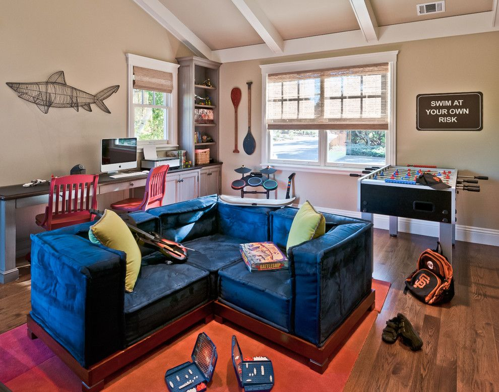 Counch for a Contemporary Family Room with a Window Trim and Portfolio of Work by Viscusi Elson Interior Design