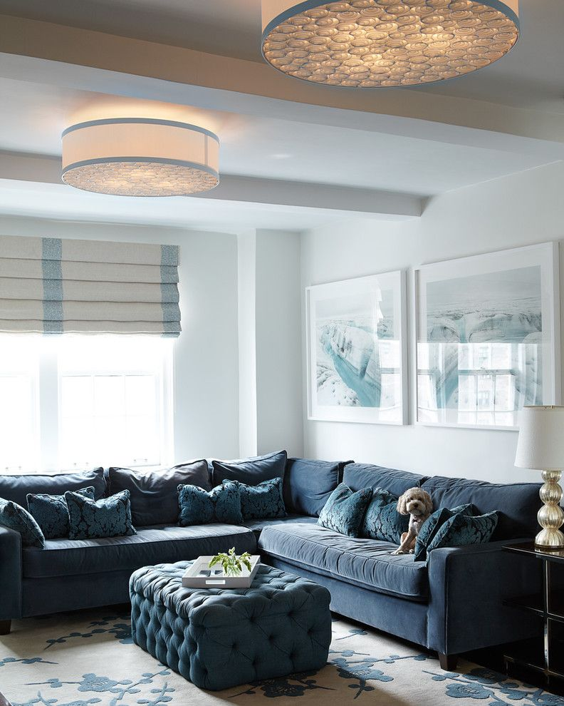 Counch for a Contemporary Living Room with a New York and New York Apartment by Carolyn Rebuffel Designs