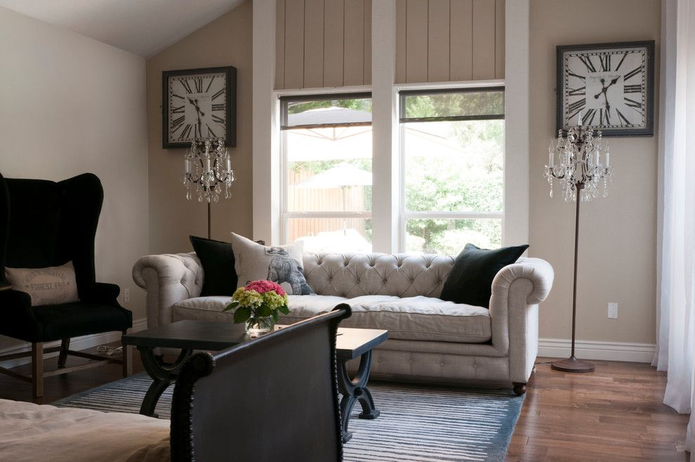 Counch for a Transitional Living Room with a Narrow Coffee Table and My Houzz: Gurfinkel by Angela Flournoy