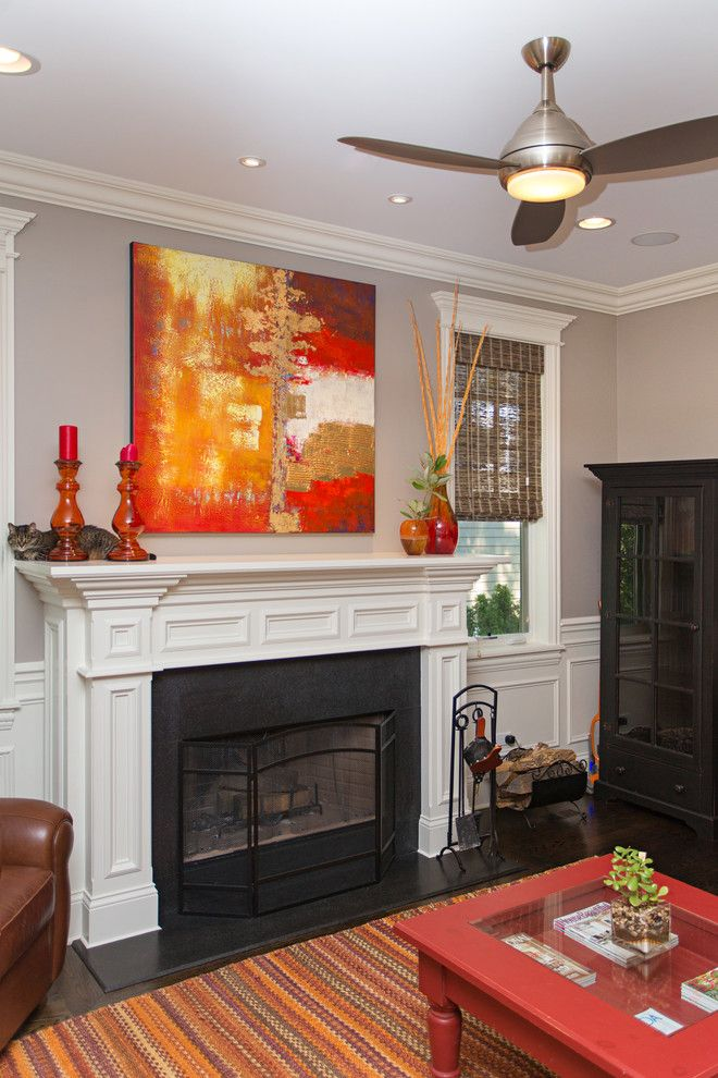 Craigslist Chicago Furniture for a Traditional Spaces with a Vibrant and Craftsman Style White Pained Wooden Fireplace Mantle by Miller + Miller Real Estate