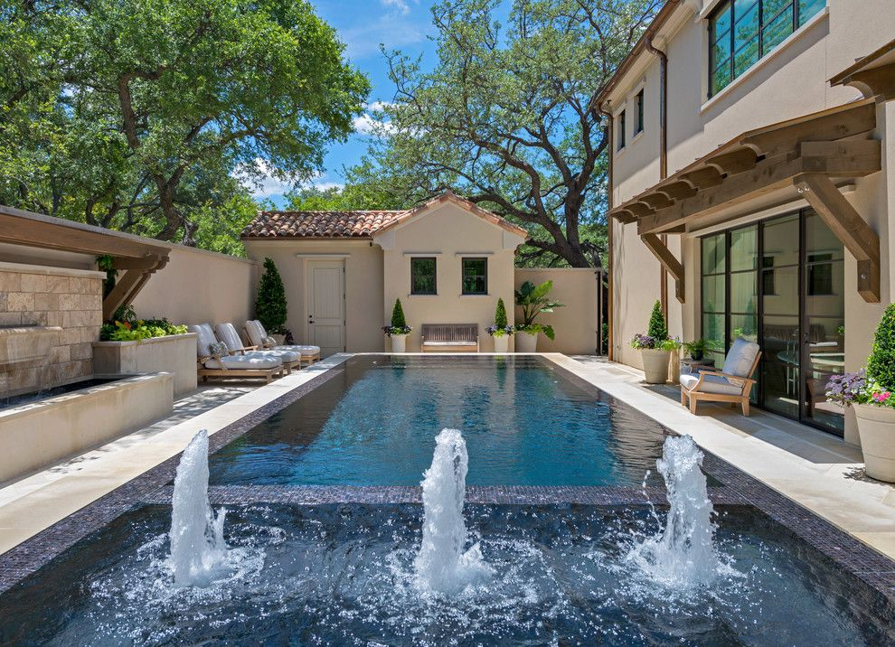 Craigslist Dallas Furniture for a Mediterranean Pool with a Mediterranean and Infinity Edge & Overflow Pools by Harold Leidner Landscape Architects