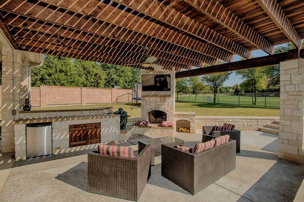 Craigslist Dallas Furniture for a Rustic Patio with a Pergola and Outdoor Living Area by Cdp Environmental Construction