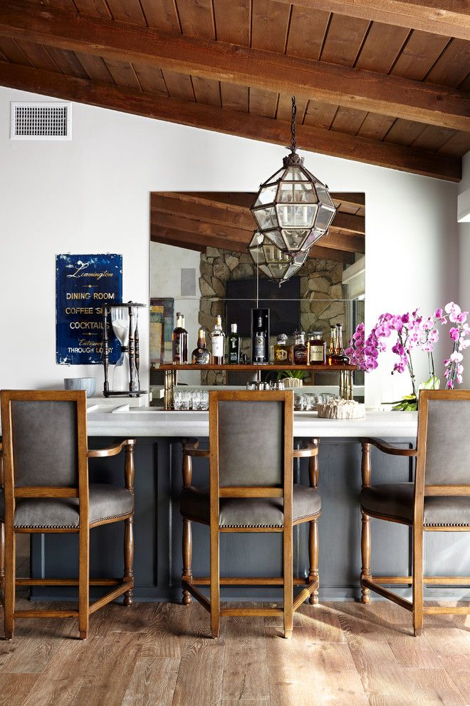Craigslist Los Angeles Furniture for a Traditional Home Bar with a Wood Ceiling and Hollywood Hills Transitional by Janette Mallory Interior Design Inc.