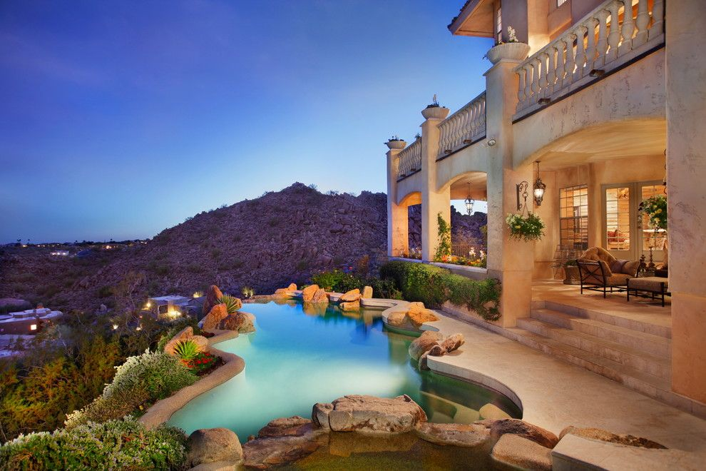 Craigslist Nashville Furniture for a Mediterranean Pool with a Curved Pool and Boulder Point Estates by Alexandra Lauren Designs