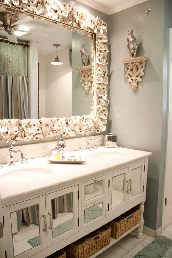 Craigslist New Orleans Furniture for a Transitional Bathroom with a Mirrored Cabinets and Powder Rooms by Khb Interiors