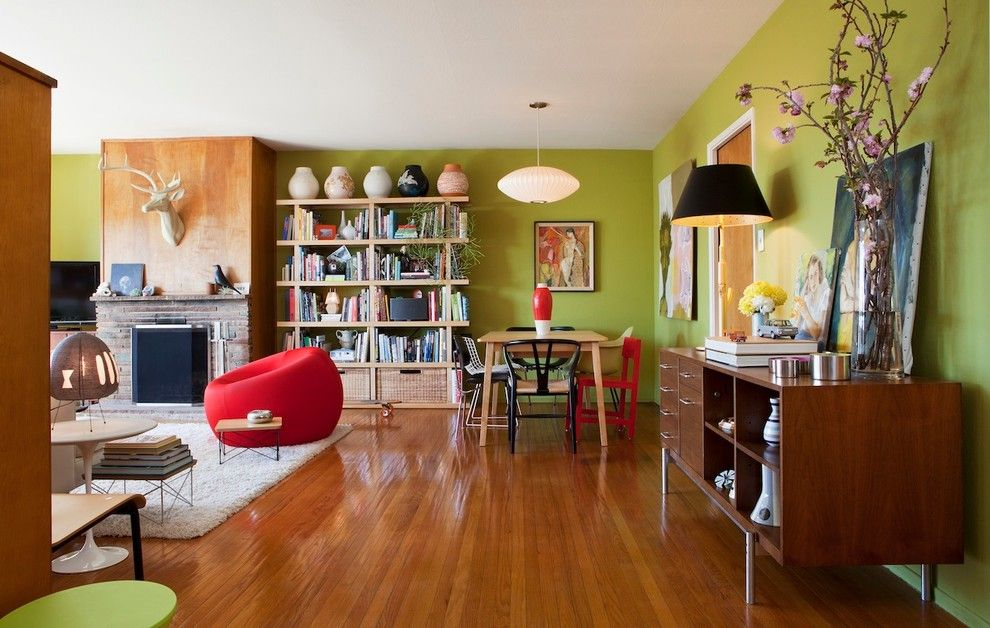 Craigslist Pittsburgh Furniture for a Eclectic Living Room with a Wallpaper and San Francisco Mid Century Mix by Janel Holiday Interior Design