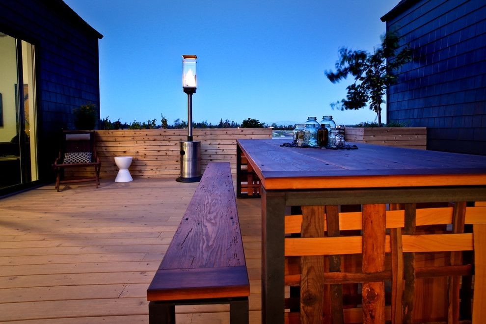 Craigslist Portland Furniture for a Rustic Deck with a Outdoor Dining and Second Floor Patior by Nicole Helene Designs