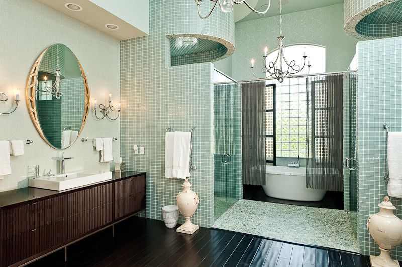 Craigslist South Florida Furniture for a Contemporary Bathroom with a Blue Tile and South Florida Family Estate by Greeson & Fast Design