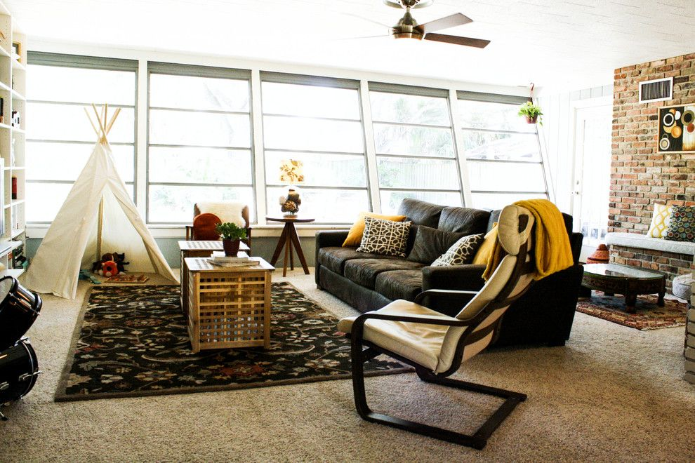 Crate and Barrel Walnut Creek for a Eclectic Living Room with a Tan Carpet and Acosta Rubio Residence by Mina Brinkey
