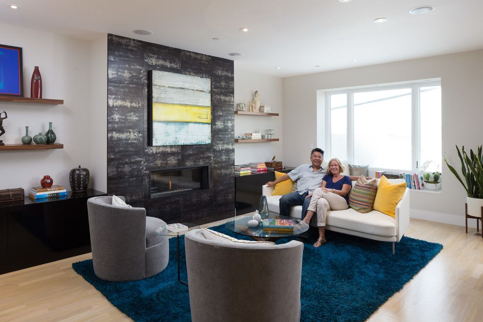 Crate and Barrel Walnut Creek for a Modern Living Room with a Floating Shelves and San Francisco Home with a View by Visual Jill Interior Decorating